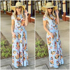 Light blue floral maxi dress